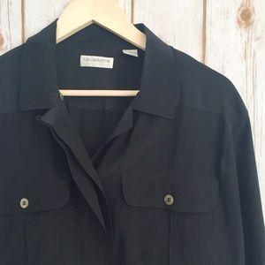 Liz Claiborne 100% silk black button up top